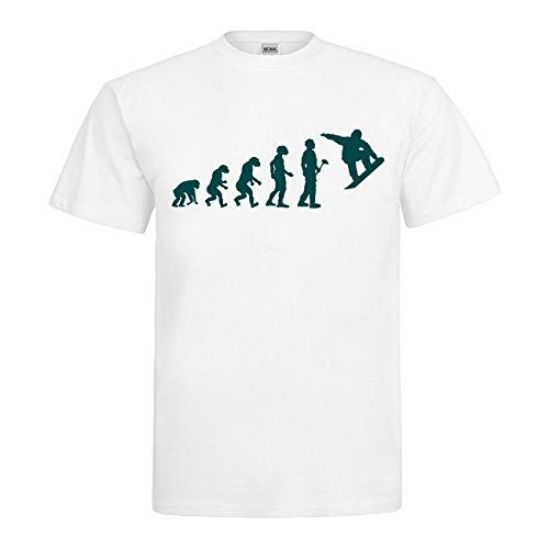 MDMA T-Shirt Evolutionstheorie Snowboarder Textil white / Motiv tuerkis Gr. S