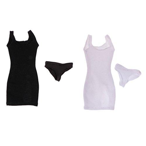 Damen Kleid Dirndl & Unterwäsche Set 12'' weiblichen Action Figur Outfit Kleidung ( Schwarz + Weiß ) (Schwarz Und Weiß Figur Kostüme)