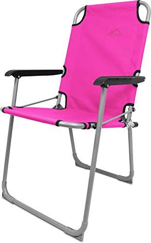 normani Ultraleichter Camping Alu-Klappstuhl - Angelstuhl Anglerstuhl Camping-Stuhl Faltbar bis 90 kg Belastbarkeit Farbe Rosa