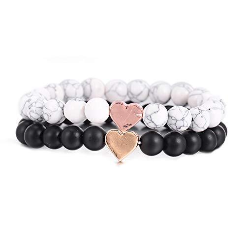 GBBCD Trendy Natürliche 8mm Naturstein Perlen Armband Romantische Goldenes Herz Schwarz Weiß Strang Armbänder Für Männer Frauen Yoga Schmuck