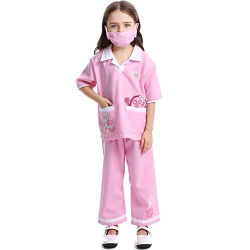 CJJC Niedliche Mädchen-Veterinär-Kostüme, Rollenspiel-Kleidung des medizinischen Personals für Kinder, ideal für Schulleistungs-Festival-Partygebrauch, rosa - Niedliche Hexe Kostüm