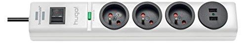 Brennenstuhl-Hugo Steckdosenleiste 3-fach/2Steckdosen USB mit Überspannungsschutz Kabel 2m, 230V, weiß, 1150611523, 230 voltsV