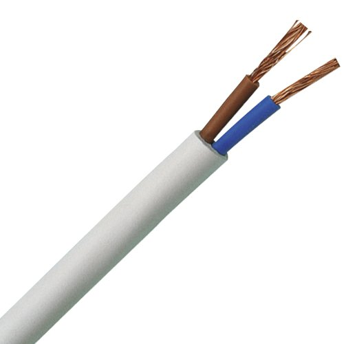 Preisvergleich Produktbild Kopp Schlauch-Leitung 2 adrig, H03 VV-F 2G0,75mm² (10m) für flexible Verlegung, 300V/500V, Strom-Kabel für Trockenraum, leichte Beanspruchung, weiß, 151510843