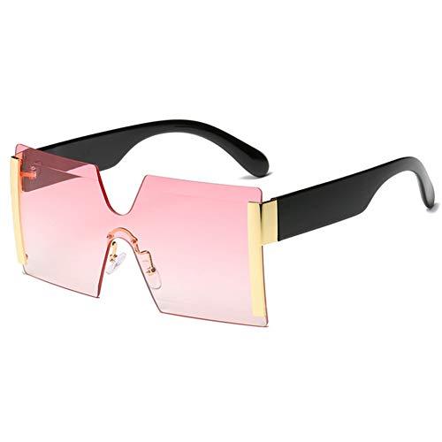 Wenkang Randlose übergroße Sonnenbrille Frauen Männer Platz One Piece Cutting Lens Sonnenbrille Mode Cool Female Sunglass Shades,5