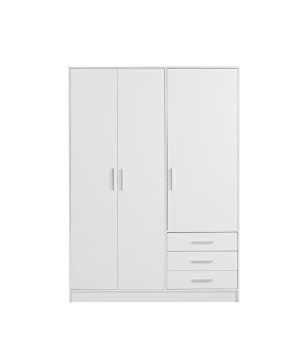 NEWFACE  Kleiderschrank 3-türig, 3 Schubkästen, Holz, Weiß matt, 144.6 x 60 x 200 cm