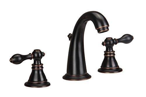 derengge NEU 8breitgefächert Zwei Griffe Öl eingerieben Bronze Badezimmer Wasserhahn mit Pop Up Ablauf von derengge (Push-up-schlauch)