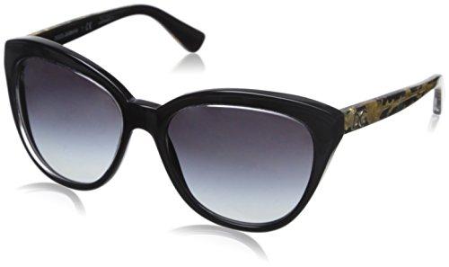 Dolce & Gabbana Damen DG4250 Sonnenbrille, Schwarz, Gold (Verziert)/Grau verlaufend 29178G, Medium (Herstellergröße: 56)