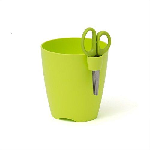 Prosper Plast Lime Pot de Fleur 13 cm Plastique Limes Uno à Herbes avec Ciseaux à Herbes