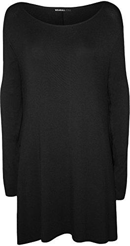 Plus Size Womens Plain Long Sleeve Stretch Ladies Swing Dress Top - 16-26