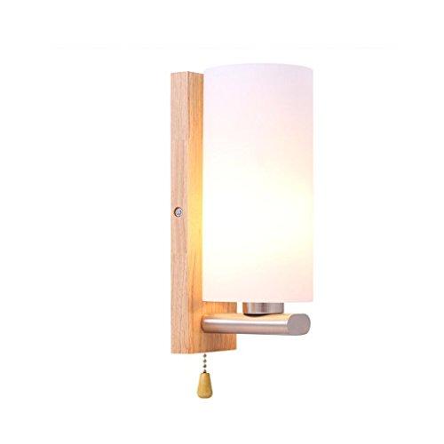 Xingzhe luci notturne - - applique in legno massello, base in legno moderna, paralume in vetro, applique da parete in legno e27 led, comodino, camera da letto, balcone, sala da pranzo, bar, caffetteri