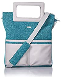 Veuza Berlin Premium Jacquard And Faux Leather Ice Blue Women's Tote