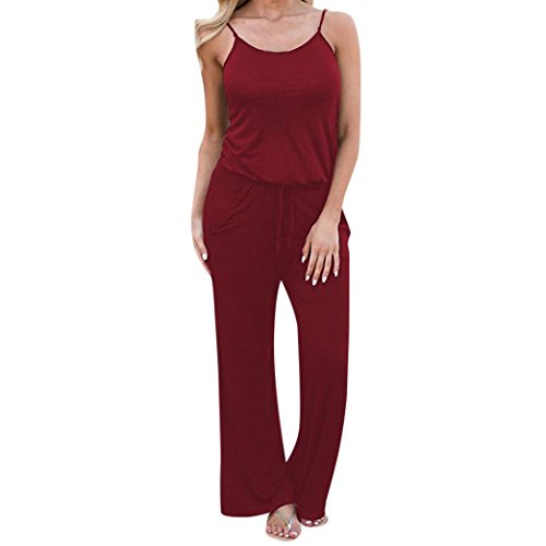 MOIKA Damen Jumpsuits, New Boho Frauen Damen Sleeveless Urlaub lange lose Playsuits Strampler Overall(XL,Rot)