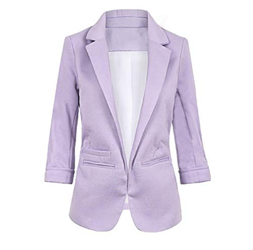 CuteRose Womens Roll-Up Sleeve 3/4 Sleeve Candy Curvy Office Outerwear Purple XL Double Breasted Coat Petite