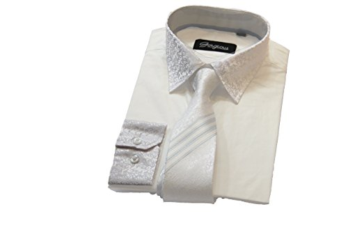 Elegantes Hemd für Jungen, gemusterte Krawatte mit passenden Manschetten, für besondere Anlässe Gr. 13 Jahre, weiß