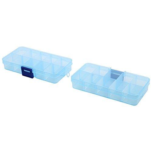 DealMux Plastic 10 Compartments Pill Box Medicine Storage Drug Case 2 PCS Blue