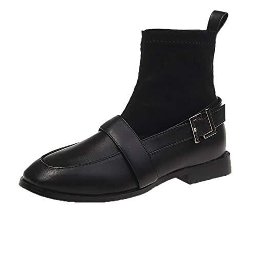 JXQ-N Damen Socken Stiefel Quadrat Stiefeln Herbst Dicke Ferse Schuhe Wasserdicht Plattform lässigs Kurze Mode Stiefel - Echtleder-plattform