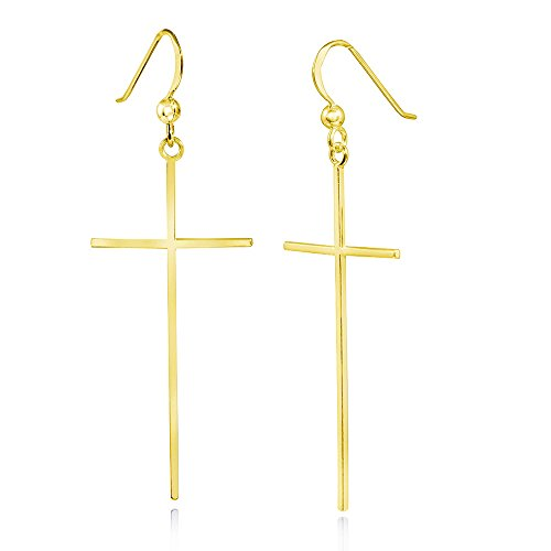 MATERIA 925 Silber Gold Ohrhänger Kreuz ATTRA 20x59mm - Damen Ohrringe vergoldet mit Schmuck-Box #SO-281