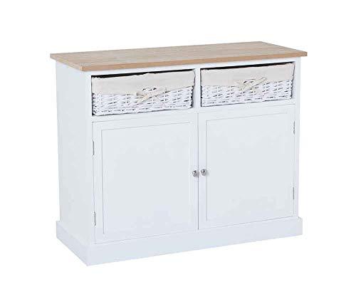 SR Sideboard 2 Wicker Baskets Double Cupboard Wooden Hallway Storage Unit in White Metal Chrome Handles
