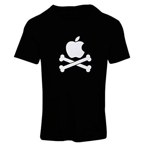 Frauen T-Shirt Lustiger Apfel und Knochen (XX-Large Schwarz Fluoreszierend)
