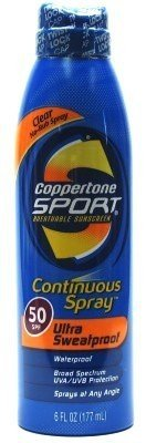 Coppertone Continuous Spray Spf #50 Sport 180 ml Sweatproof (Continuous Spray) -
