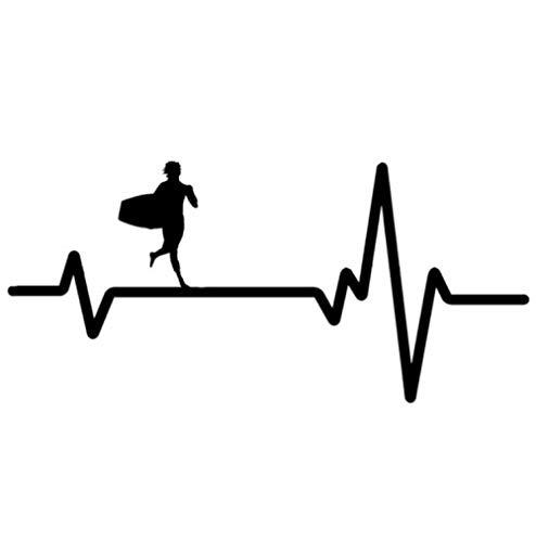 YOUYOUY 2Pcs Adesivi Auto 16Cm * 7.4Cm Surf Board Boogie Running Heartbeat Vinyl