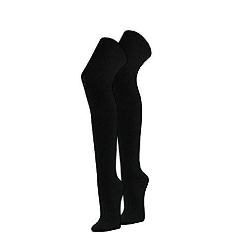 1 Paar coole Damen Overknee Strümpfe in schwarz - Baumwolle - OneSize 36-41