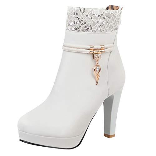 LILIGOD Winter High Heels Lace Damenstiefel mit Strass Wings Stiefel Damenschuhe Mode Hochzeit Party Stiefeletten Leder Blockabsatz Stiefeletten Kurze Stiefel Reißverschluss Boots