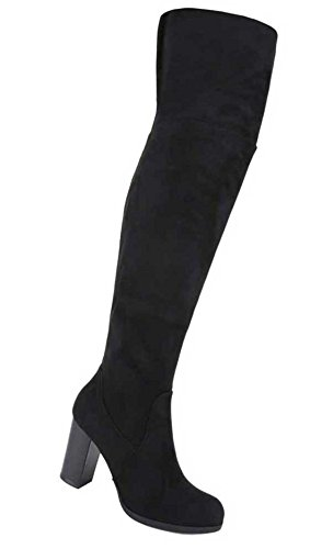 Damen Overknee Stiefel Schuhe In Wildlederoptik Schwarz Grau 36 37 38 39 40 41 Schwarz