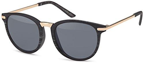 Vintage Sonnenbrille im 60er Style mit trendigen bronzefarbenden Metallbügeln Panto - Retro Brille (smoke-Holzoptik)