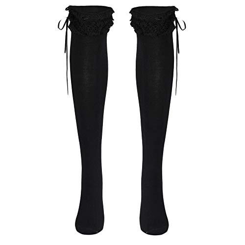 FIRSS Damen Rüschen Spitze Over knee Überknie Kniestrümpfe Socken Hold-up-Strümpfe Klassisch mit Schleife warme Leggings Socken