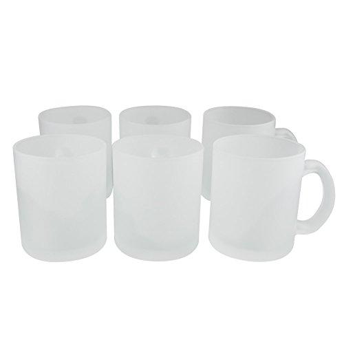 6er Set Weiße Kaffeetassen Ohne Druck – Satiniert – Frosted Look - Elegante Milchglas...