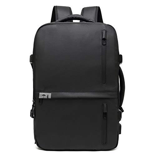Neuleben Rucksack Handtasche Handgepäck mit 3 Fächer Wasserdicht Groß Erweiterbar Rucksäcke mit USB Brustgurt (Schwarz-XXL)