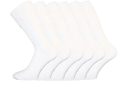 I-Smalls Aler Chaussettes à Nervures Coton Confortable Lot de 12 Homme (Blanc) 38-45
