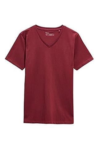 next Herren T-Shirt mit V-Ausschnitt Regular XXXXL Dunkelrot
