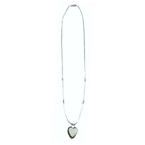 Indianerschmuck Kette aus Sterling Silber - White Opal Heart