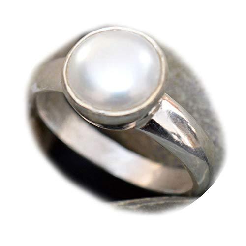 55Carat Echte Südseeperle Silber Statement-Ring für Frauen 7 Karat runder Lünettenfassung handgefertigt Größe 48-70