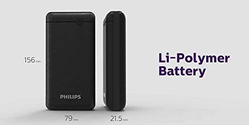 Best philips power bank in India 2020 Philips DLP1720CV Fast Charging Power Bank 20000mAh with Lithium Polymer Battery Black (Twin USB Output Port 3.1A, with Micro USB and Type c Input Image 9