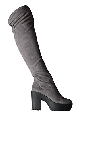 Women's Ladies Knee High Faux Suede Glam Party Knee High Boots Grey