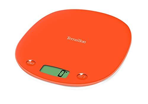 Terraillon Balance de Cuisine, Tare, Conversions Liquides, Poignée intégrée, Portée 3 kg, Macaron Light, Orange