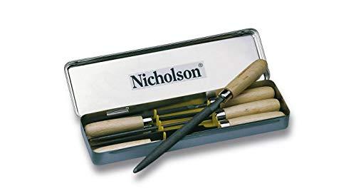 Crescent Nicholson T0012991420 100mm/4 Zoll Schlüsselfeilen-Set Halbschlicht/Hieb 2 mit Holzfest In Blechkasten - Nicholson-slim Taper