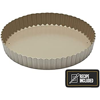 30 cm Large Tart pan Loose Base Non Stick Quiche Moulds flan tin deep Fluted Tray Dish