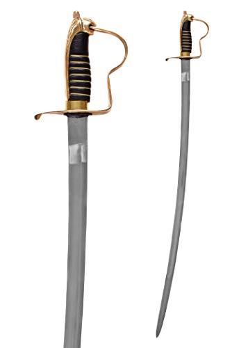 Battle-Merchant Preußischer Offizierssäbel mit Scheide aus Stahl geschmiedet mit Löwenkopfgriff Messing - Schwert Degen Metall echt Erwachsene