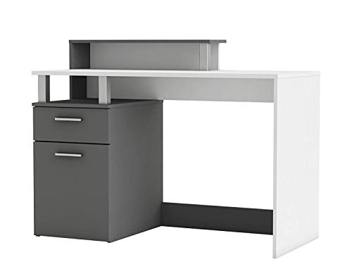 habeig Bürotisch Office #890 Computertisch Schreibtisch Tür Schubkasten, Holzfurnier, Weiß Graphite Grau - Tür Sekretärin