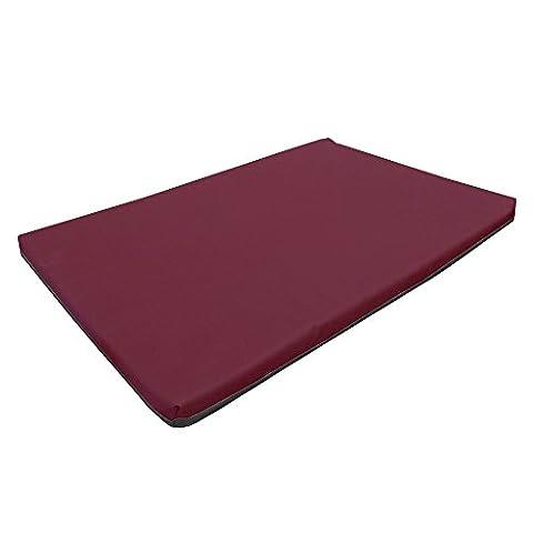 Large Waterproof Orthopaedic Rectangle Memory Foam Dog Bed / Travel Mat | Burgundy | 100cm x 65cm x 5cm