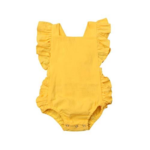 JUTOO Sommer Kleinkind neugeborenes Baby Kinder Jungen mädchen rüschen einfarbig Strampler Bodysuit Overall Kleidung ()