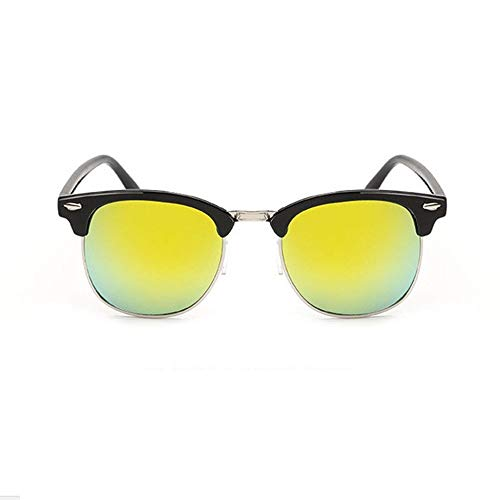 Mon5f Home Mens Sunglasses Women Classic Vintage Reisnagel Farbfilm Sonnenbrille Modetrend reflektierende Sonnenbrille Hunderte Runde Sonnenbrille