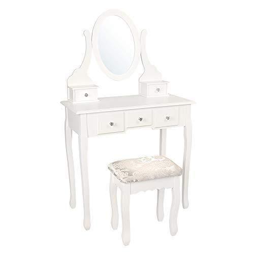 Tocador con taburete acolchado, espejo ovalado y 5cajones, estilo chic, color blanco
