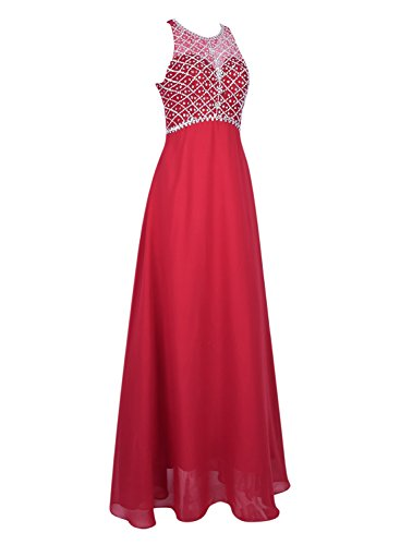 Azbro Women's Sleeveless Rhinestone Bridesmaid Chiffon Prom Dress Royal Blue