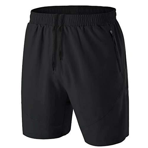 Herren Sport Shorts Kurze Hose Schnell Trocknend Sporthose Leicht mit Reißverschlusstasche(Schwarz,3XL)