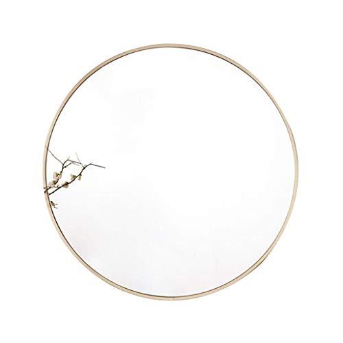 HD explosionsgeschützte Badezimmerspiegel einfache Haushaltswand hängen runden Spiegel Veranda Wohnzimmer dekorative Spiegel -611 (Color : Gold, Size : 80cm)